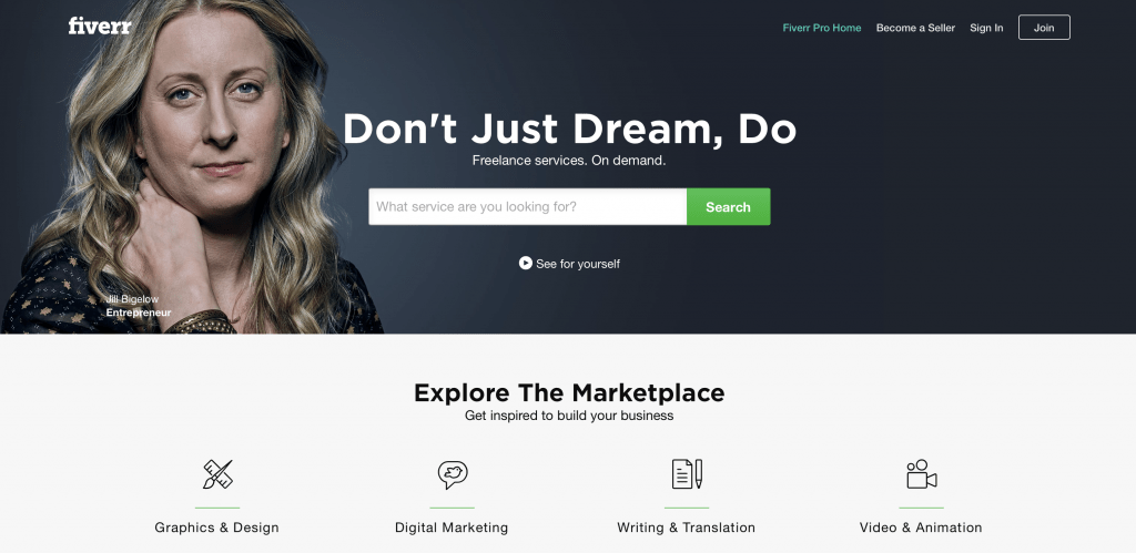 Fiverr Landing Page Example