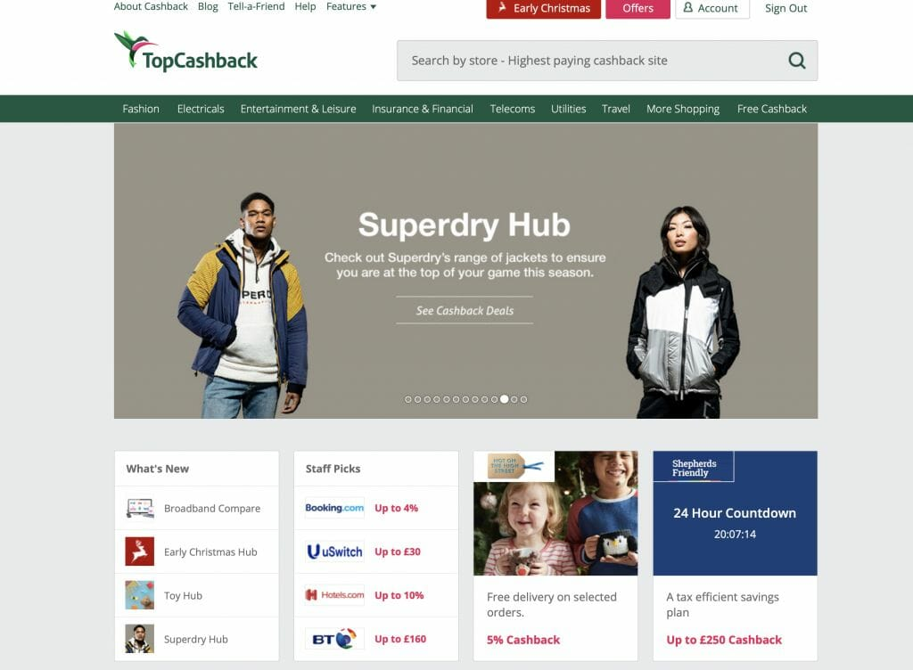 Example of a Cashback website