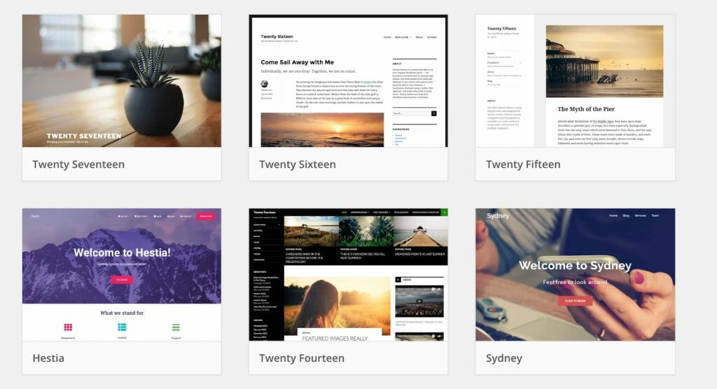 Example Blog Themes