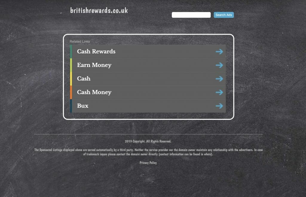 britishrewards.co.uk a site that did exist no longer does has a sponsored listings page