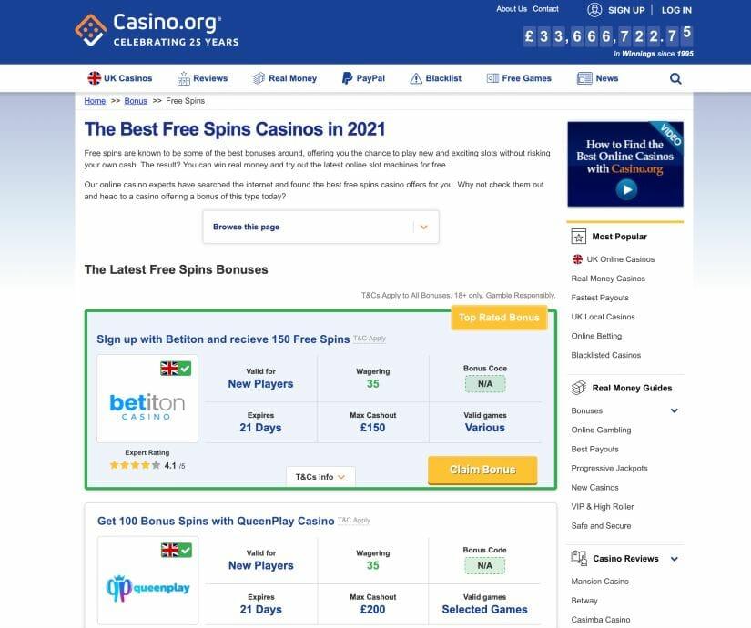 Example of a casino affiliate site