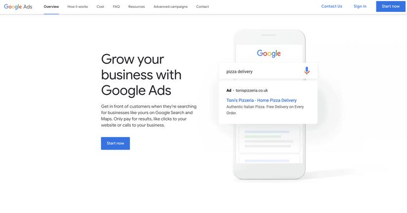 Screenshot of the advertising platform Google Ads.