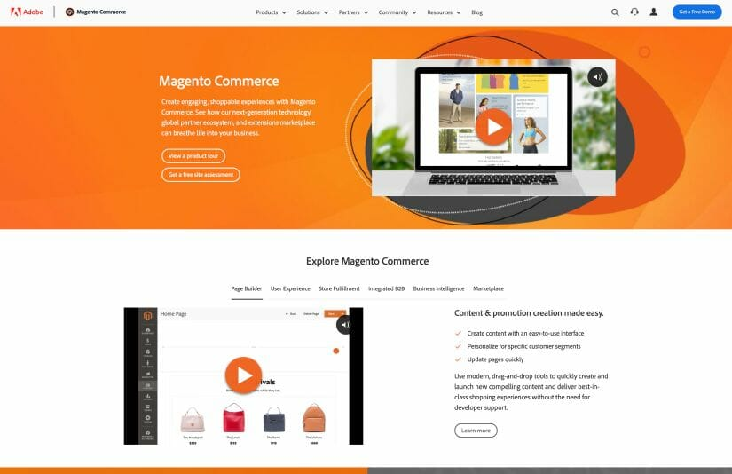 Screenshot talking about Magento Commerce.