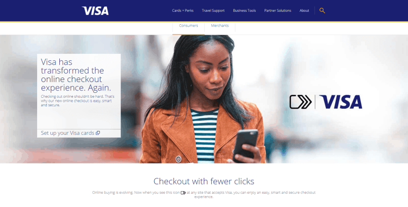 Screenshot of Visa's website talking about checking out with Visa.
