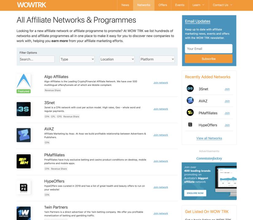 Screenshot of WOW TRK's Network Directory