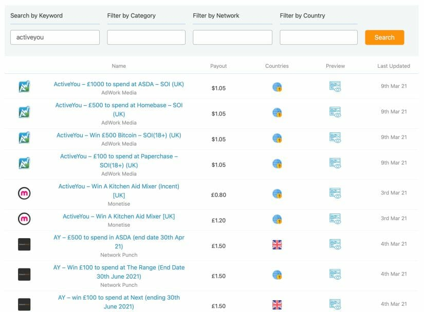 Screenshot of how the Offer Engine search results now look for the keyword activeyou.