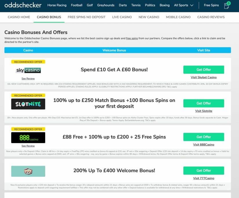 Screenshot of oddschecker.com website