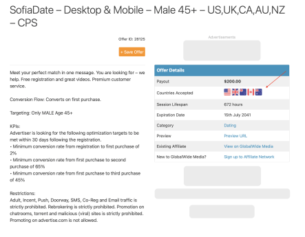 Screenshot showing country flags on an offer listing.